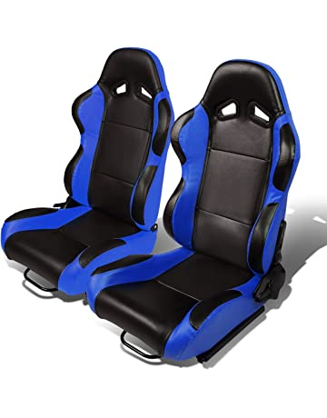 Set of 2 Universal Type-R PVC Leather Reclinable Racing Seats w Sliders ( 4cb718885f9a7