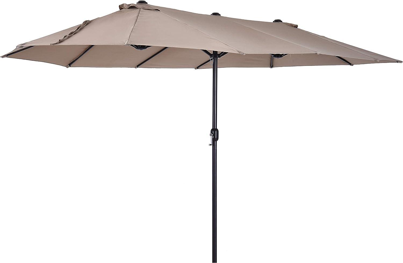Outsunny Sombrilla Doble Parasol Grande 4.6x2.7m Sombrilla Jardín Patio con Manivela Manual Resistente al Agua y Protección Solar UV para Terraza Playa Piscina Café