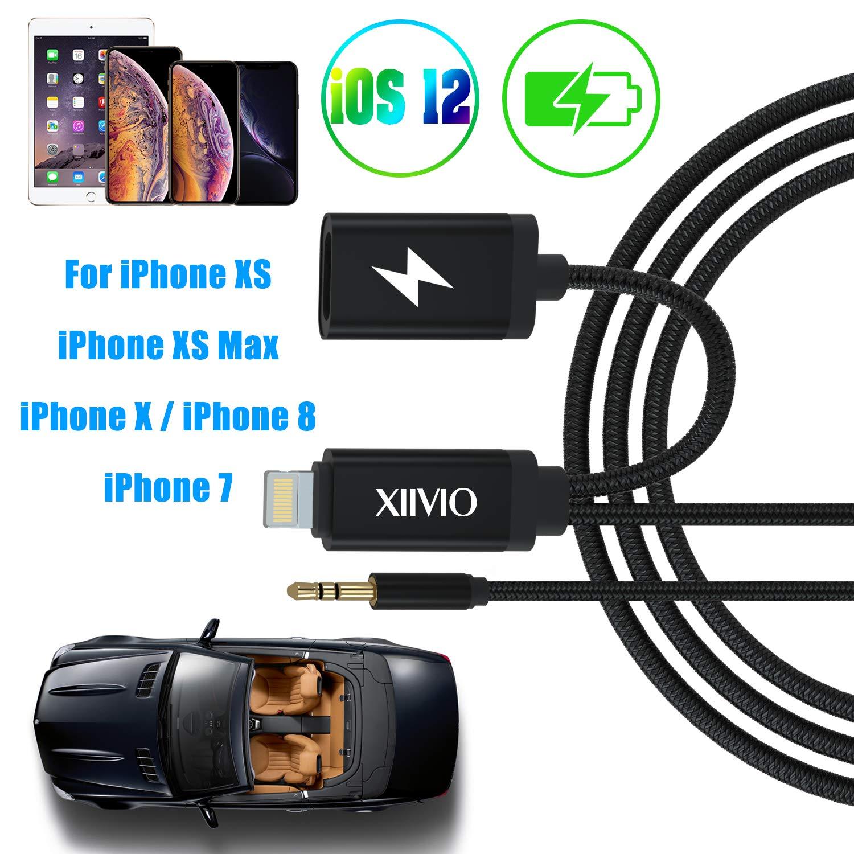 XIIVIO AUX e Cavo del Caricatore Compatibile con Phone XS//XS Max AUX Cavo con Adattatore di Ricarica e Jack per Cuffie Audio Caricatore per Phone XS//XS max//x//8//7//iPad da Auto Stereo//Home Speaker