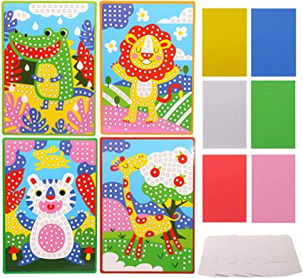 Amazon Com Lovyan Mosaic Stickers Art Kits For Kids 4 Pack Diy Handmade Art Crafts With Card Stands 1080 Sticky Tiles Zoo Animals Toys Games