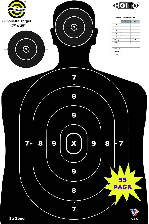 HOITO Shooter Win (17x25 inch) 55 Pack Silhouette Range Shooting Paper Targets Shoot for Firearms,Pistols,Rifles,BB Guns,Airsoft Guns,Pellet Guns