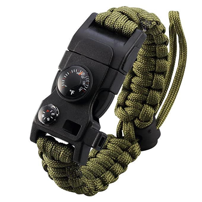 Survival Bracelet, Paracord Bracelet, Adjustable Featured Outdoor Paracord Survival Bracelet, Whistle,Compass, Temp, & Fire Starter Functional Tool for Hiking Camping Hunting
