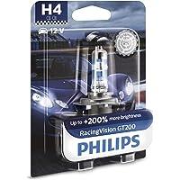 Philips RacingVision GT200 H4 bombilla faros delanteros +200%, blister individual