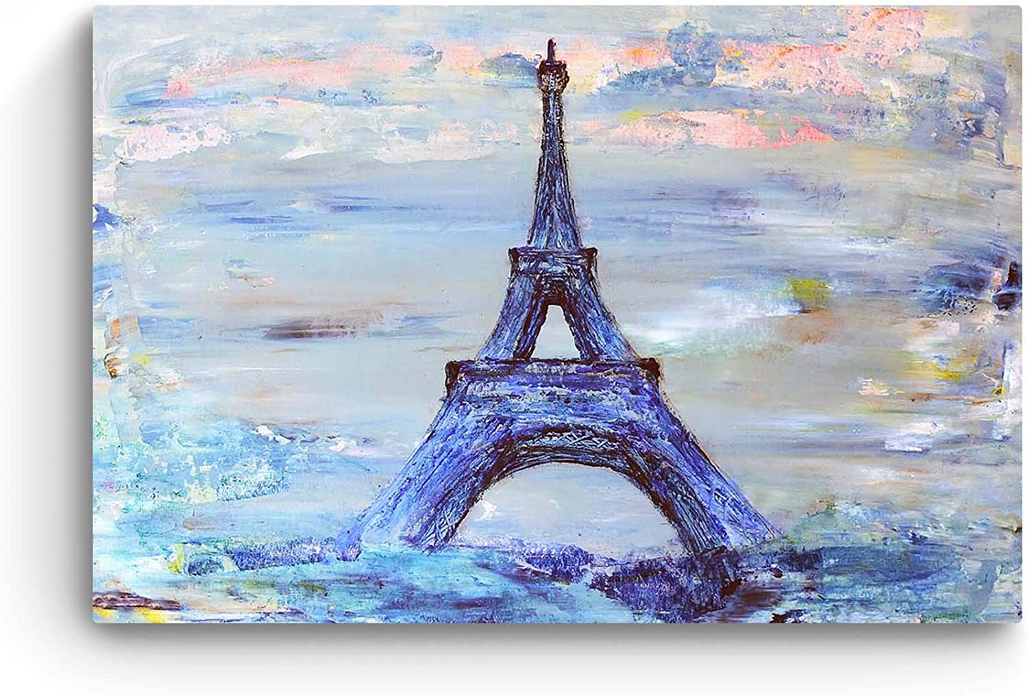 Extra Large CANVAS WALL ART OIL PAINTING HAND PAINTED PARIS EIFFEL TOWERSTREET