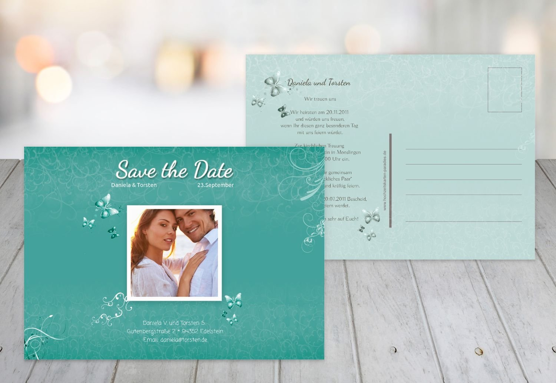Kartenparadies Hochzeitskarte Save-the-Date butterfly, hochwertige Save the Date Karte zur Hochzeit   50 Karten - (Format  148x105 mm) Farbe  AquaTürkis