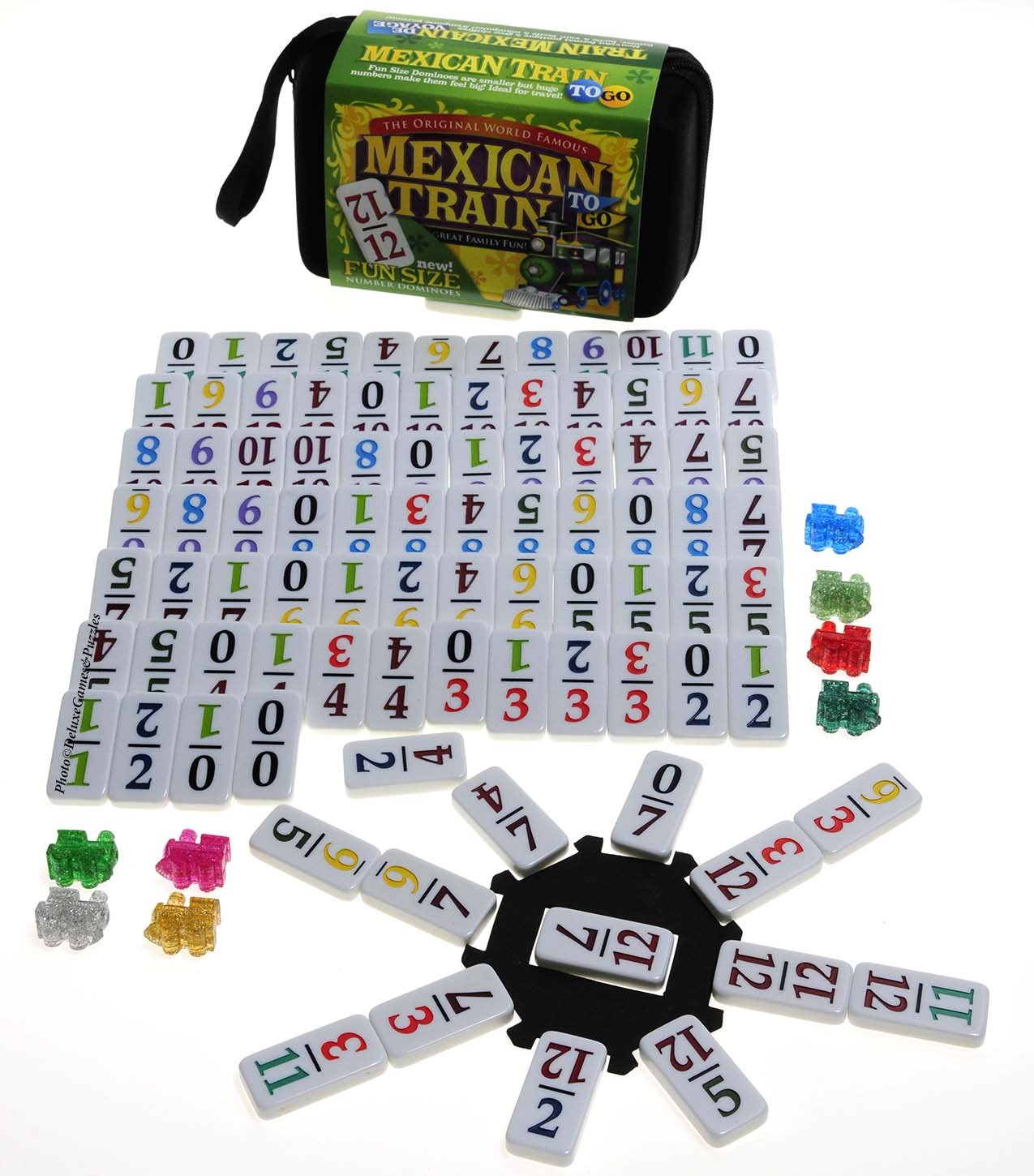 Mexican Train Double 12 Dominoes _ Travel Größe _with Farbeed Numbers