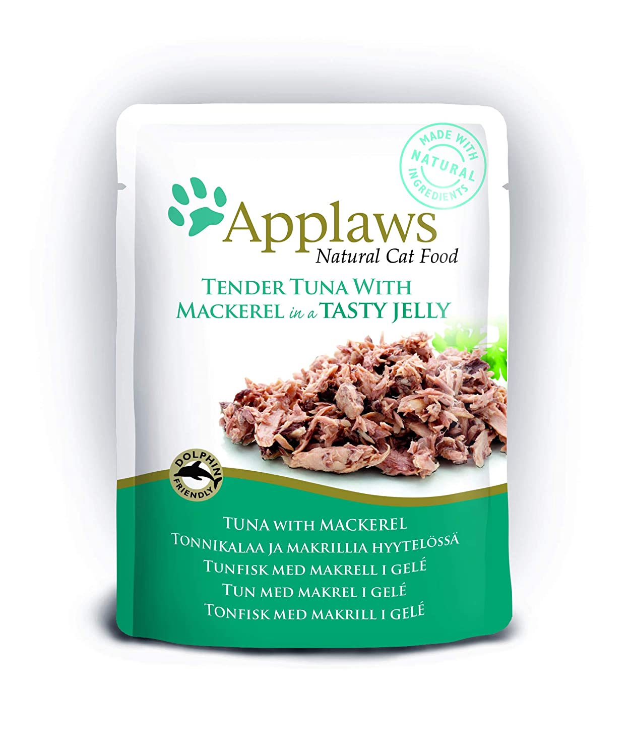 GroceryLand Applaws Cat Pouch Tuna Wholemeat with Mackerel in Jelly, 70 g, Pack of 16