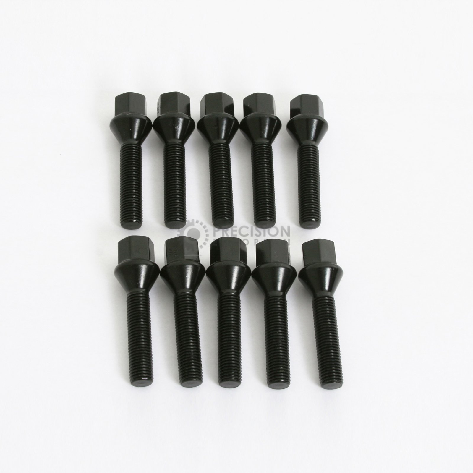 (10) Extended Black Lug Bolts 12x1.5 (53mm Shank Length) Cone Seat for many BMW Vehicles: 128i 135i 318i 320i 325i 328i 335i M3 525i 528i 530i 535i M5 Z3 Z4 E36 E46 E60 E90 E92 E93