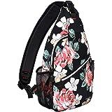 MOSISO Sling Backpack,Travel Hiking Daypack Rose Rope Crossbody Shoulder Bag