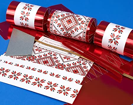 8 red foil scandinavian nordic christmas make your own crackers kit 8 red foil scandinavian nordic christmas make your own crackers kit solutioingenieria Gallery