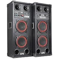 Skytec SPB-26 Set Sono Karaoke - Pack d'enceintes amplifiées actives avec ports USB et SD pour lecture MP3 (600 W, Subwoofer 2x15cm, entrées micro) - Noir et Rouge