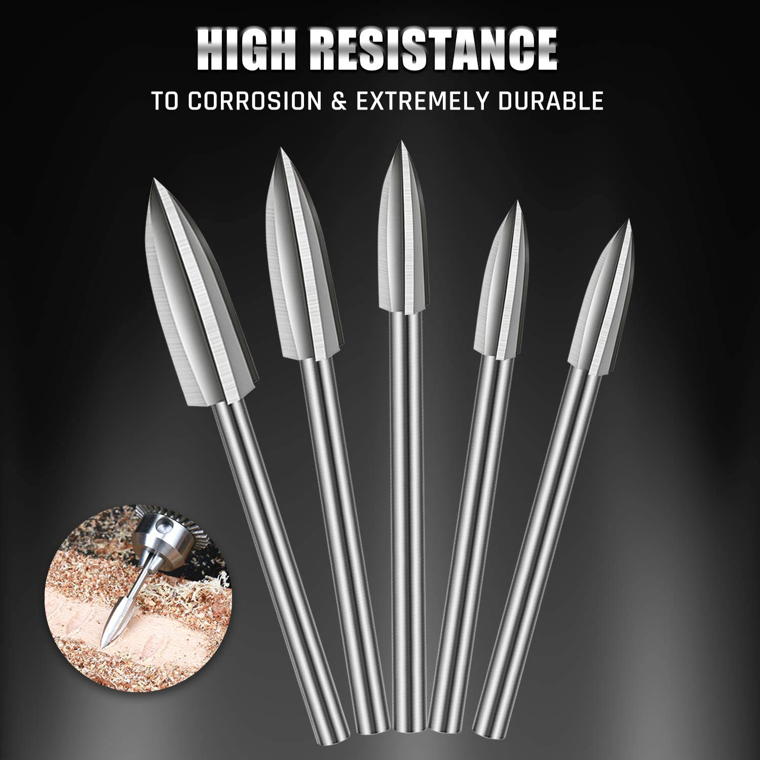 5PCS Wood Carving and Engraving Drill Bit Set Accessories Bit Universal Fitment for Rotary Tools