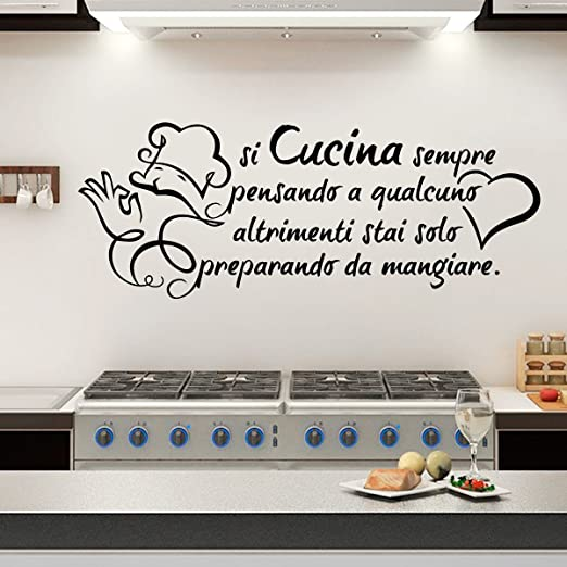 Gigio Store Wall Sticker Frase Si Cucina Sempre pensando a Qualcuno Altro  Che apprestava a stai Mangiare. Adesivi murali Aforismi Casa Decorazioni da  ...