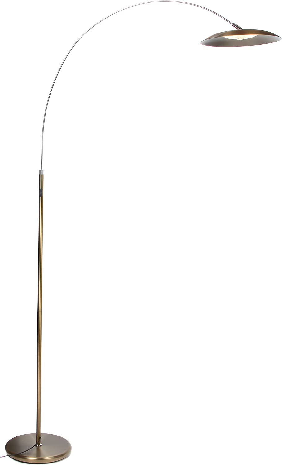 Brightech Atlas LED Floor Lamp- Gold Dimmable Contemporary Modern Curved Arc Lamp- Tall Pole Standing Industrial Lamp with Ambient Lighting for Living Room Bedroom Office Dorm Antique Brass