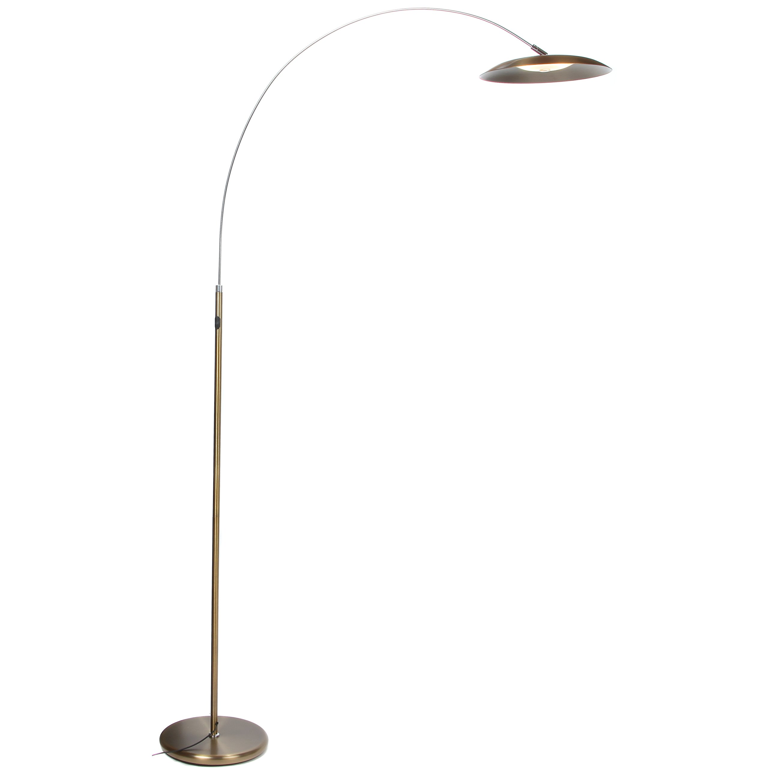Brightech Atlas LED Floor Lamp- Gold Dimmable Contemporary Modern Curved Arc Lamp- Tall Pole Standing Industrial Lamp with Ambient Lighting for Living Room Bedroom Office Dorm (Antique Brass)