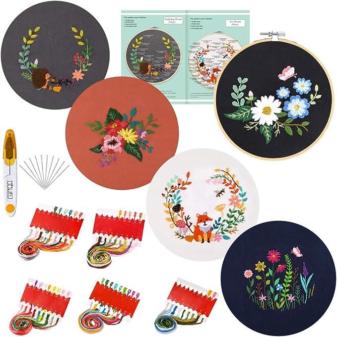 fils de couleur et outils Lot de 3 kits de broderie avec instructions comprenant 3 v/êtements de broderie avec motif papillon floral cerceaux de broderie fran/çais non garanti