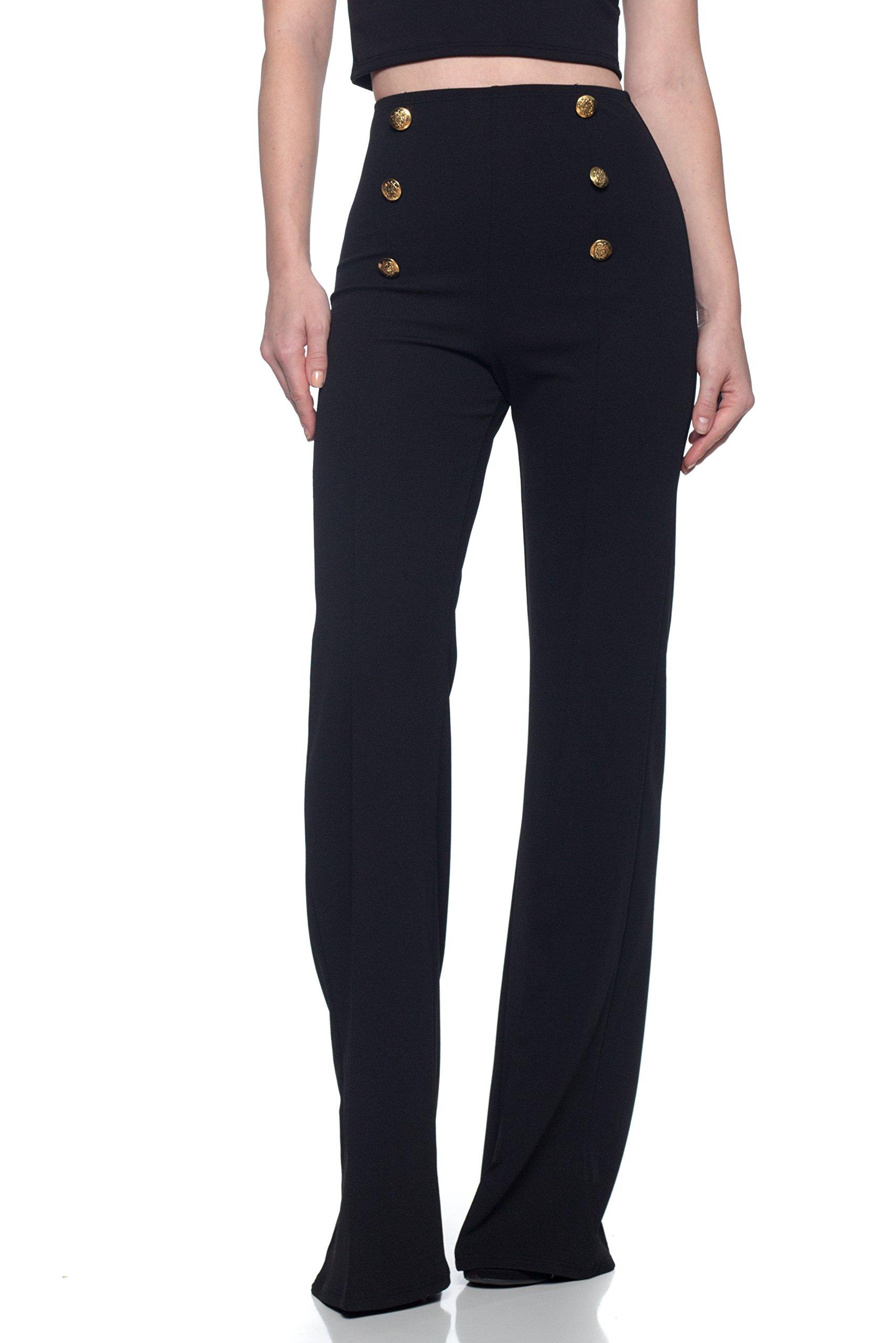 Women's J2 Love High Waist Sailor Bell Bottom Flare Pants, Medium, Black