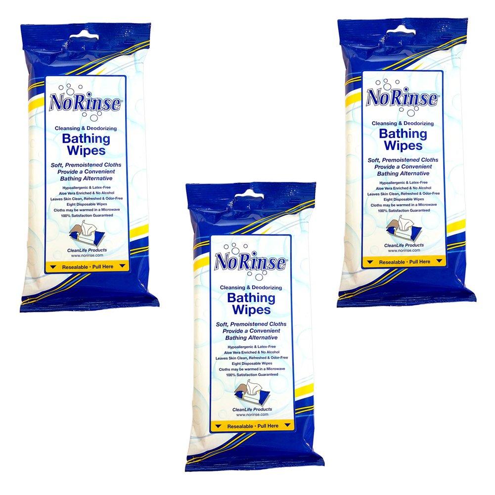 (Set/3) No Rinse Body Wipes - (Packs of 8) Travel & Caregiver Bath Wipes