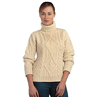 be8645ea3 100% Irish Merino Wool Turtle Neck Aran Sweater by West End Knitwear at  Amazon Women s Clothing store