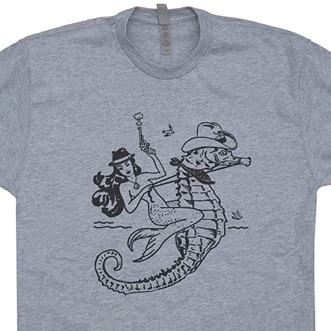baaee0735 S - Mermaid Cowgirl T Shirt Vintage Seahorse Tee Outlaw Cowboy Rodeo  Graphic Country Pin Up