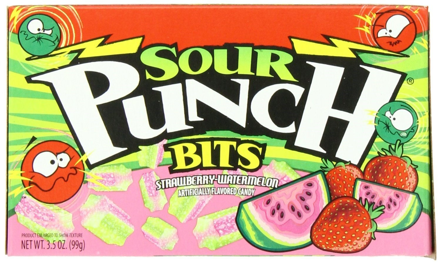 SOUR PUNCH BITS IN 3.5 OZ THEATRE BOX IN SHIPPER STRAWBERY, Case Pack of 48