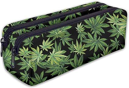 Trousse scolaire 2 compartiments Sac a Crayon Trousse de toilette Trousse en cuir Plumier Organisateur Cannabis [107]