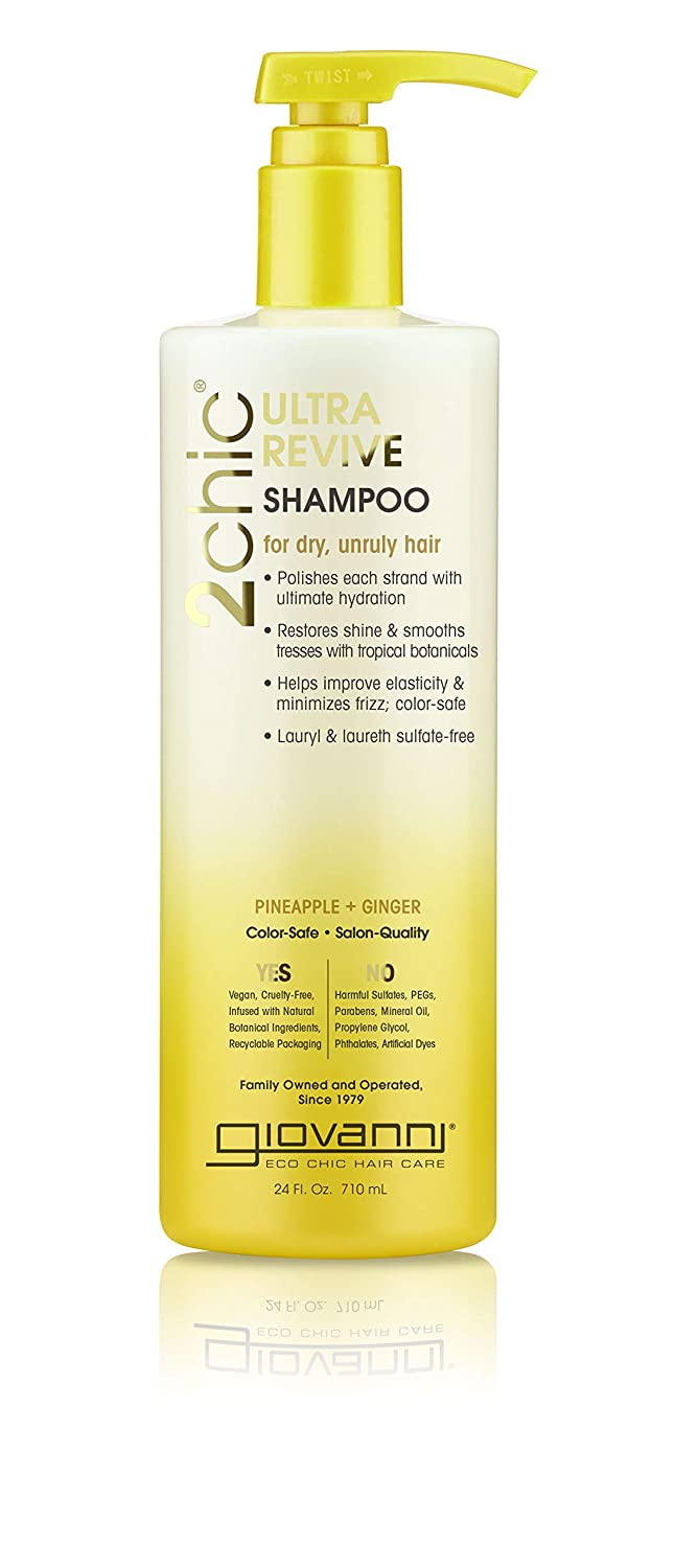 Giovanni Hair 2chic Ultra-Revive Shampoo with Pineapple & Ginge, 24 Fl Oz (Pack of 1), Moisturizing for Dry, Unruly Hair, Coconut, Guava, Aloe Vera, Pro-Vitamin B5, Sulfate Free
