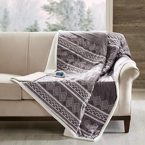 Amazon.com: 1 pieza gris geométrico patrón de rayas Oversize ...