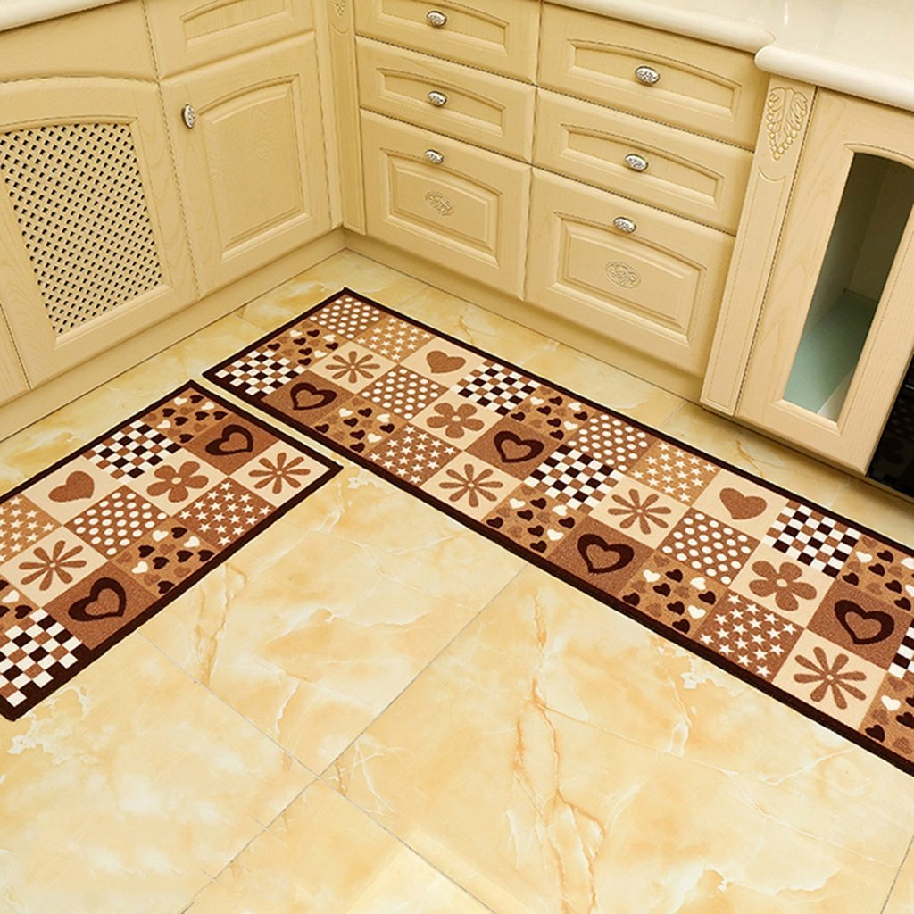 CarPet Polyester Kitchen Rugs, Water Absorption Oil-proof Stain-resistant Wear-resistant Waterproof Non-slip Mats Machine Washable (2 pieces) (Color : C, Size : 5080cm+50120cm)