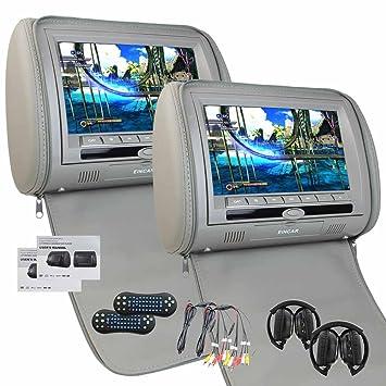 Universal Par de gris Reposacabezas Monitor de 9 pulgadas de doble reproductor de DVD con el