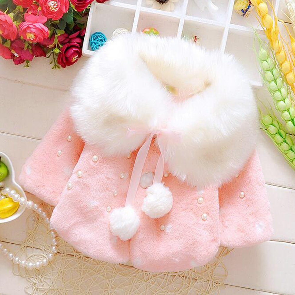 KINDOYO Baby Newborn Baby Girls Warm Faux Fur Winter Coat White// Red// Pink