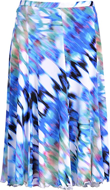 Women's Floral 26 inches just below knee Skirt Elasticated Waist printed  jersey fabric Skirts: Amazon.co.uk: Clothing