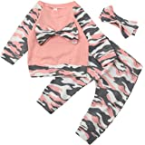 Baby Clothes Set, PPBUY Toddler Girls Camouflage Bow Tops + Pants 3pcs Outfits Set (18-24M, Pink A)