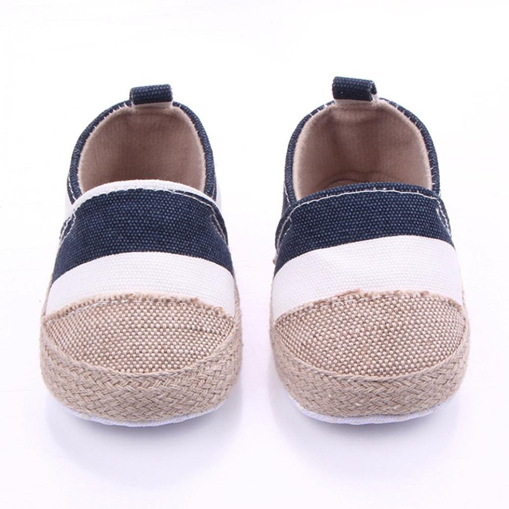 Vincent/&July Newborn Baby Canvas Sneaker Anti-Slip Canvas Striped First Walkers Shoes