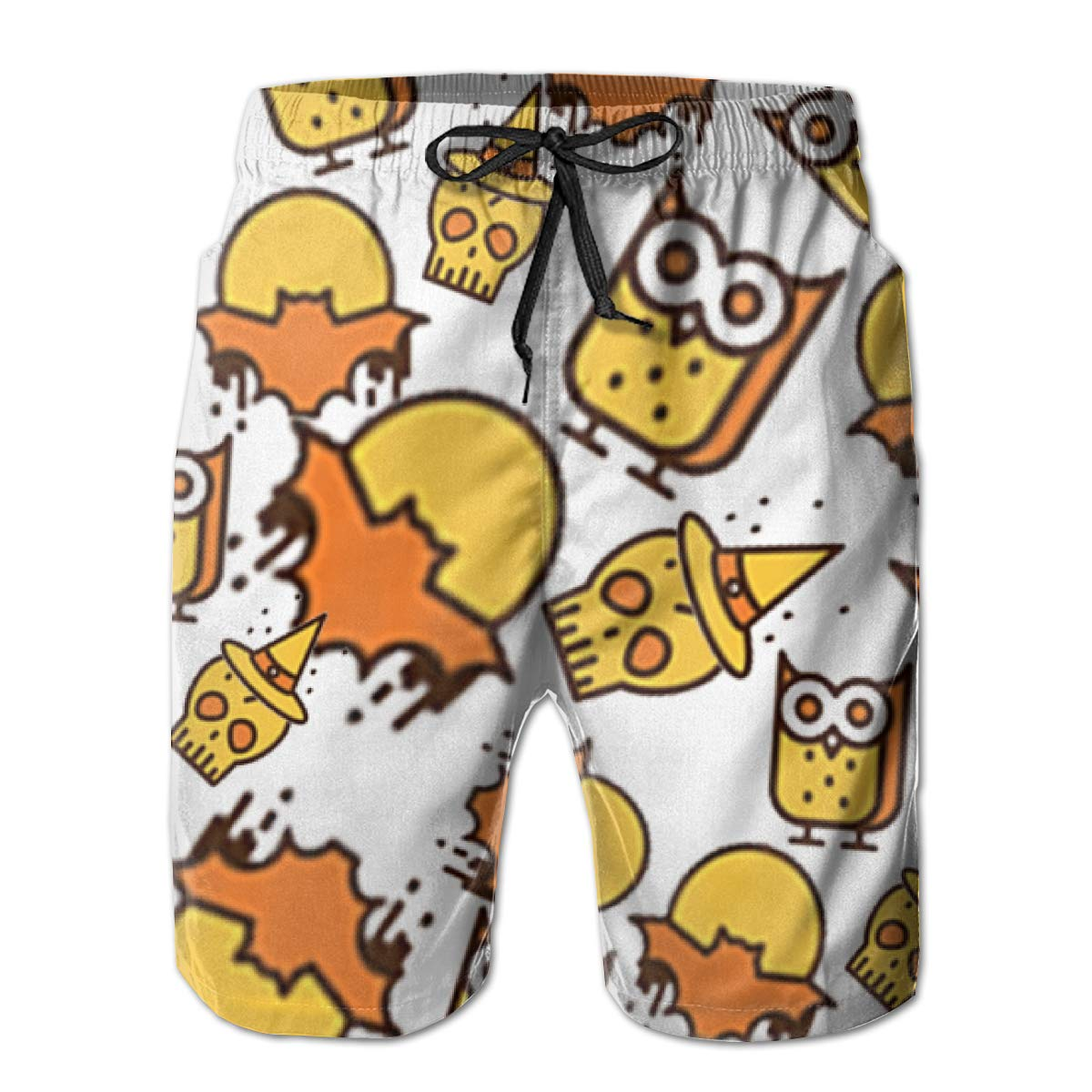 FASUWAVE Mens Swim Trunks Happy Halloween Quick Dry Beach Board Shorts with Mesh Lining