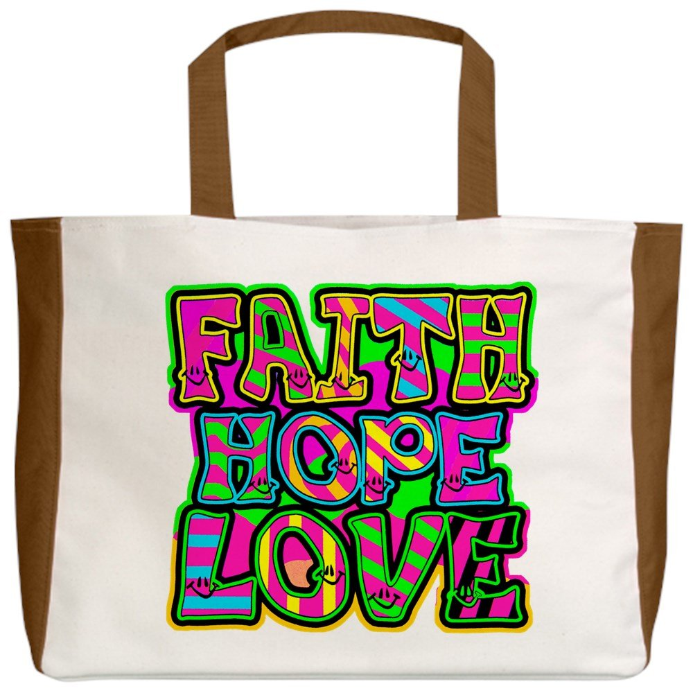 Royal Lion Beach Tote 2-Sided Faith Hope Love Neon