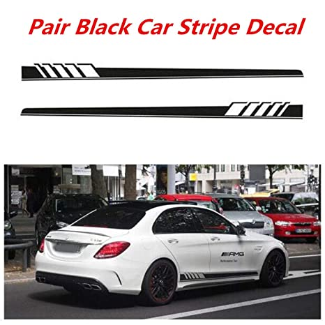 2Pcs White Sports Racing Car Graphics Both Side Body Vinyl Stripe Decal Sticker