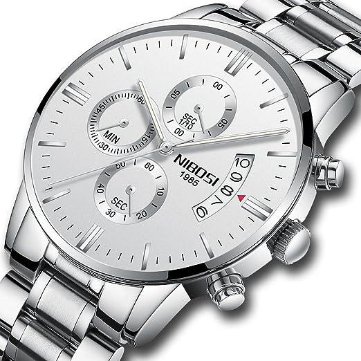 Reloj de pulsera para hombre Nibosi, de cuarzo, con cronógrafo y correa de acero inoxidable, color blanco, 2309-GKBMgd: Amazon.es: Relojes