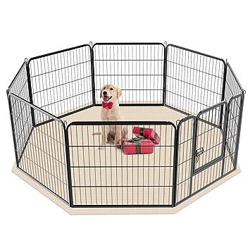 Monumart Bolígrafo plegable de metal resistente para mascotas, 8 paneles, valla para perro grande, cachorro, animal, conejo, correr, jaula: Amazon.es: ...