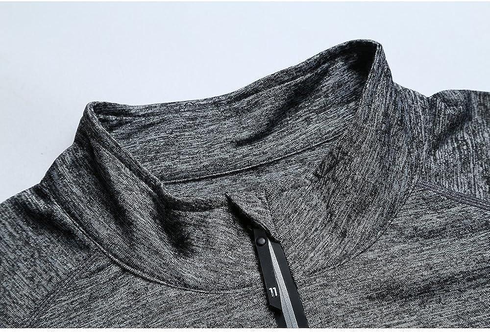 FELICON Hommes Zipper Manches Longues /à Col Debout T-Shirt /À s/échage Rapide Sweat-Shirt Chaud Running Jogging Tops T-Shirt V/êtements pour Hommes Sportswear /À Col Debout