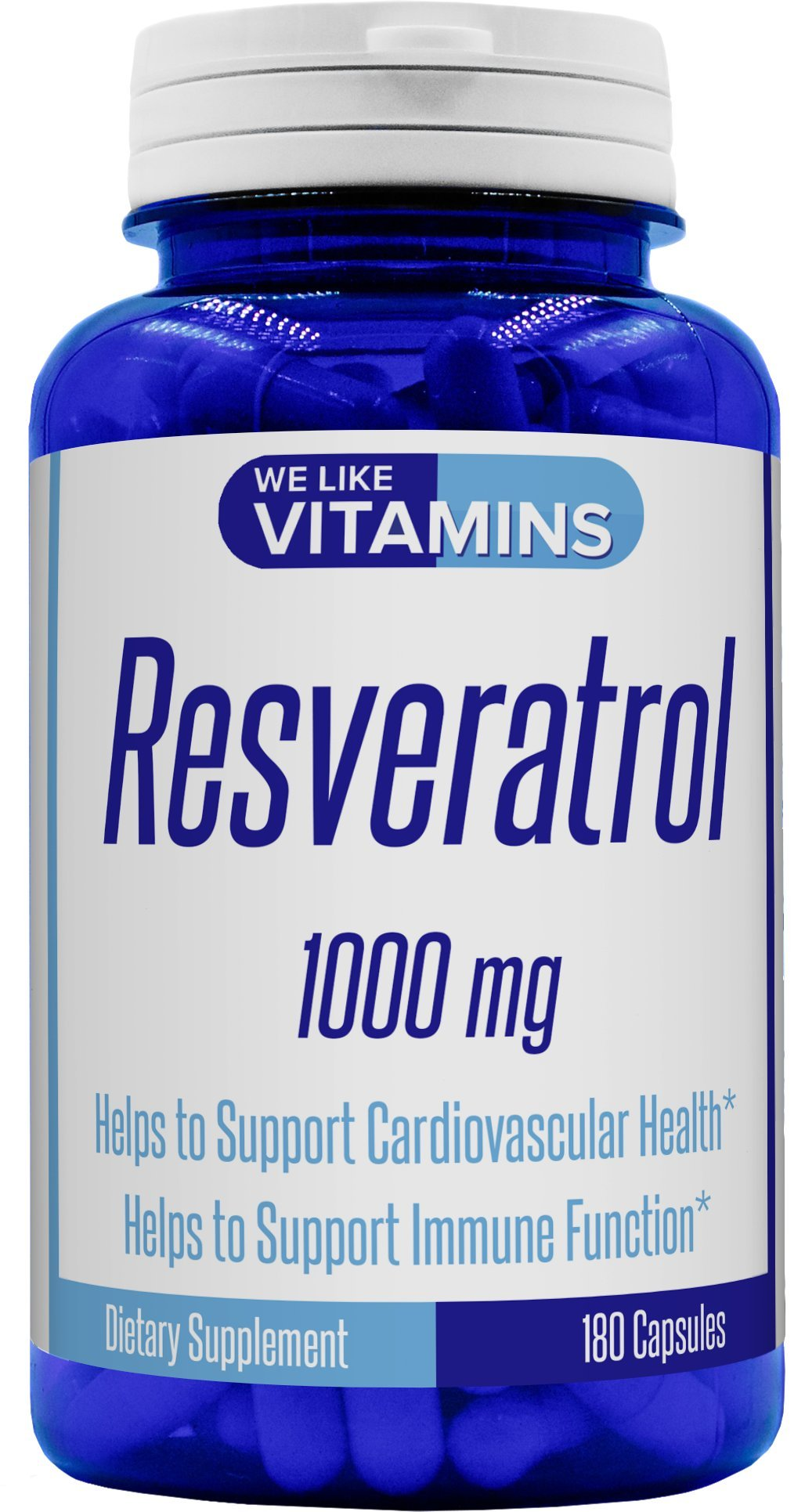 Resveratrol Capsules 1000mg Serving (Non GMO & Gluten Free) - 180 Capsules - Full 3 Month Supply - Antioxidant Trans Resveratrol Supplement Helps Support Anit-Aging and Cardiovascular System by We Like Vitamins