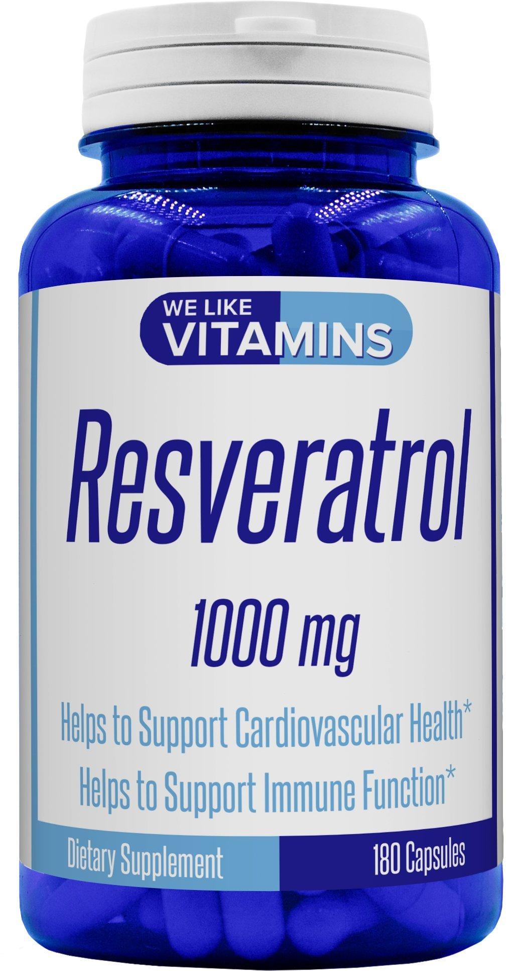 Resveratrol Capsules 1000mg Serving (Non GMO & Gluten Free) - 180 Capsules - Full 3 Month Supply - Antioxidant Trans Resveratrol Supplement