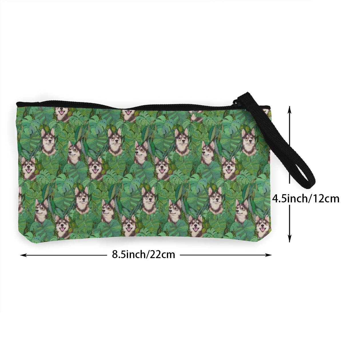 Pomsky Garden Pattern Canvas Change Coin Purse Retro Money Bag With Zip
