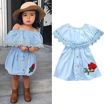 Covermason Niños Ropa Venta de liquidación Niños pequeños Bebés y niñas Vestido de mezclilla de encaje