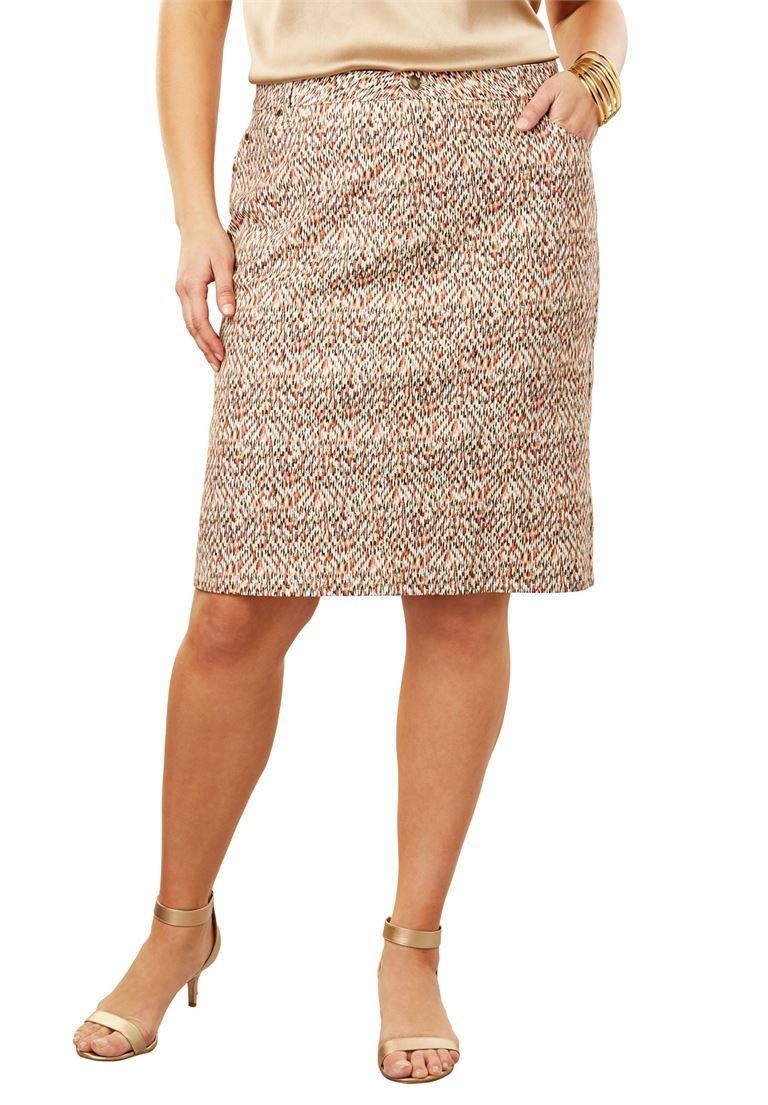 Jessica London Women's Plus Size True Fit Denim Short Skirt Burnt Red Speckle