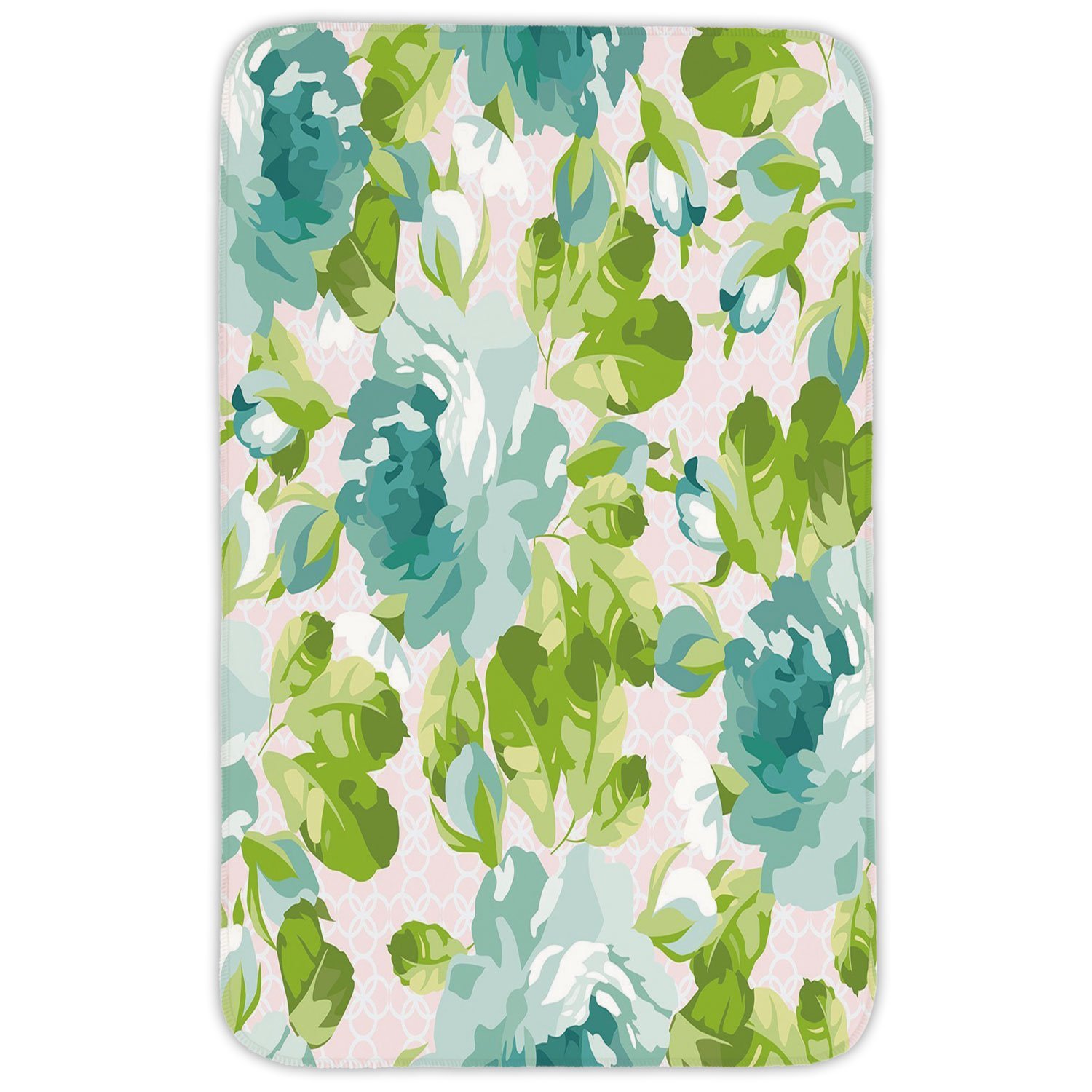 Rectangular Area Rug Mat Rug,Shabby Chic Decor,Tropical Botany Garden Theme Blue Roses Leaves Bouquets,Turquoise Green Light Pink,Home Decor Mat with Non Slip Backing