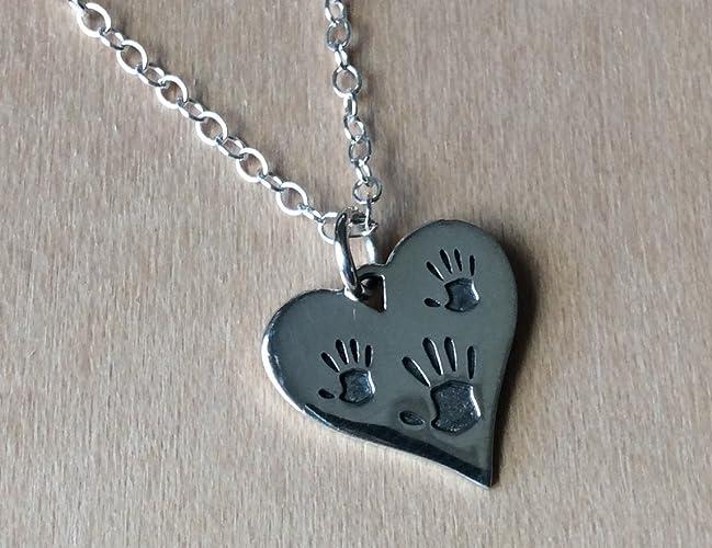 2f4b868ba Amazon.com: Three Handprint Hand Charm Sterling Silver Necklace ...