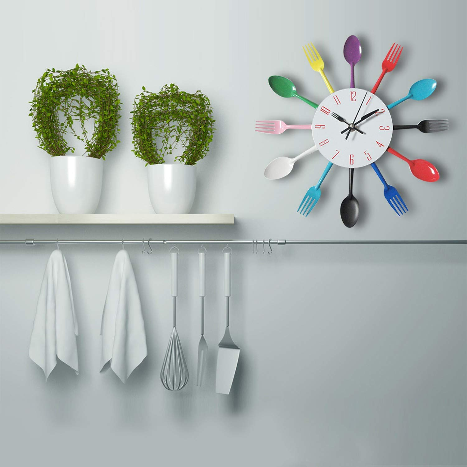 Amazon.com: CHTOP Cutlery Metal Kitchen Wall Clock - Spoon Fork Creative Quartz Wall Mounted Clocks - Modern Design Decorative Horloge Murale (Black): Home ...