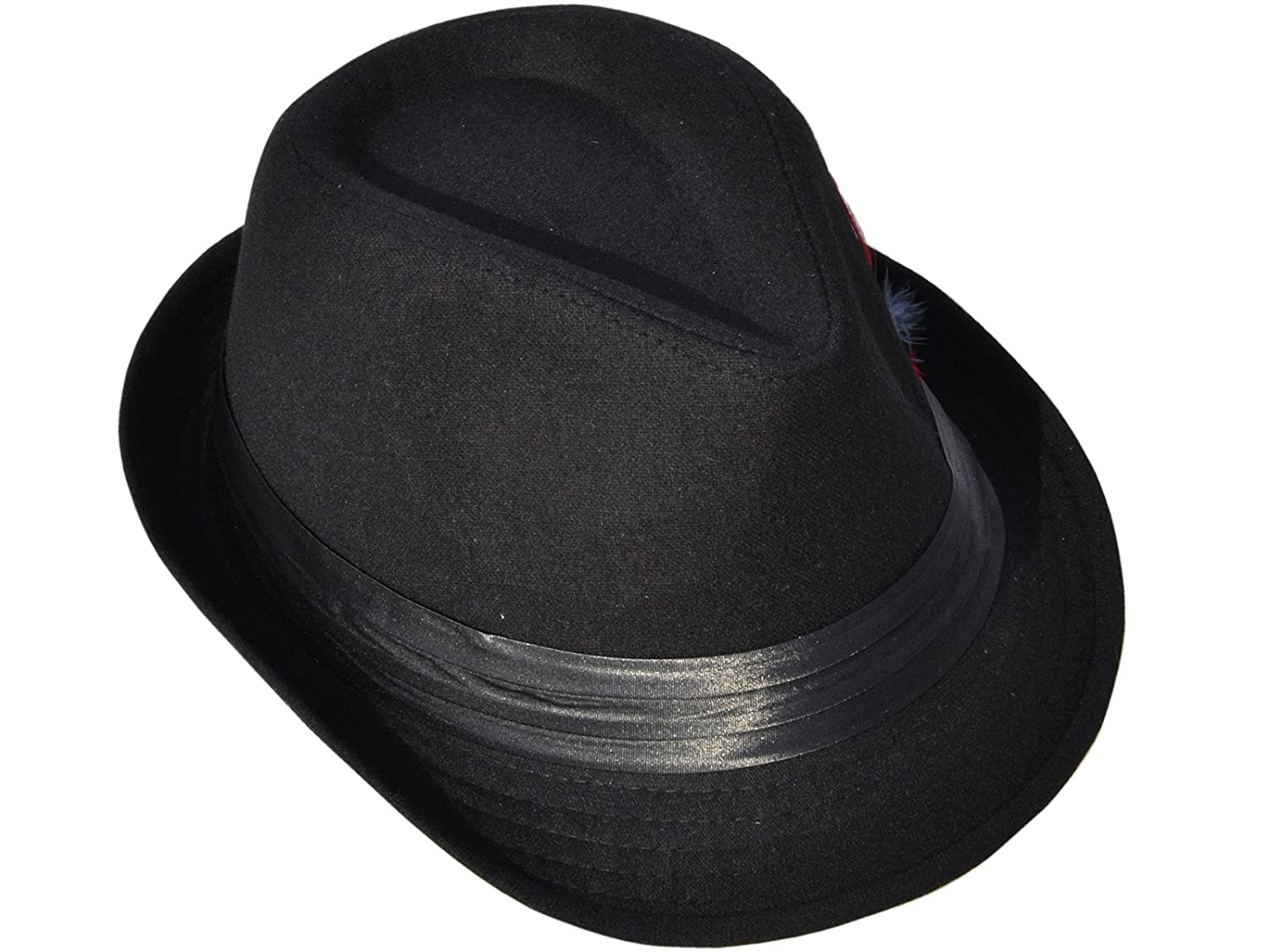 59ab13f1bb79 Simplicity Mens Wool Fedora Trilby Hat Feather with Black Band: Amazon.in:  Clothing & Accessories