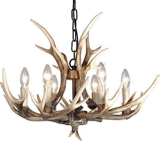 Resin Antler Chandelier,6 Light Deer Antler Chandelier Vintage Style for Living Room Dining Room Cafe Kitchen Bar Entry etc American Countryside Deer Horn Ceiling Lights BN1055-6(Brown)